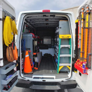 Pegboard on van door panel setup
